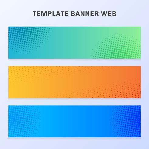Sistema de color vibrante de la pendiente del web de la bandera con la textura y el fondo de semitono. Se puede utilizar para volantes, etiquetas, pestañas, folletos, tarjetas, carteles, folletos, etc.
