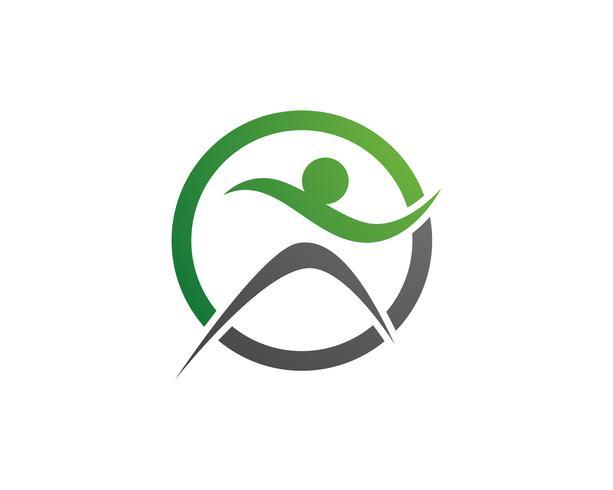 Signo del logotipo de carácter humano, logotipo de la salud. Logotipo de la naturaleza signo. Signo de logo de vida verde, vector