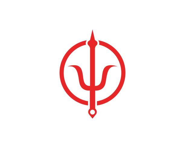 Tridente mágico logo y símbolos plantilla vector