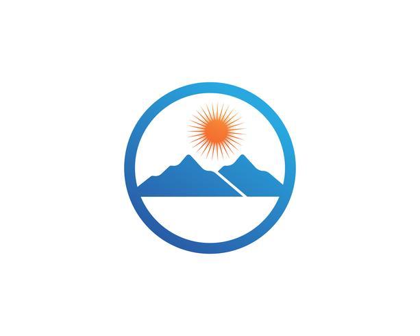 Modello di icone di logo e simboli di paesaggio di montagna natura.