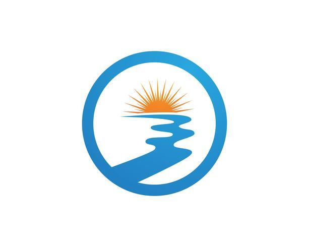 Ejemplo del icono del vector de la plantilla del logotipo del río,