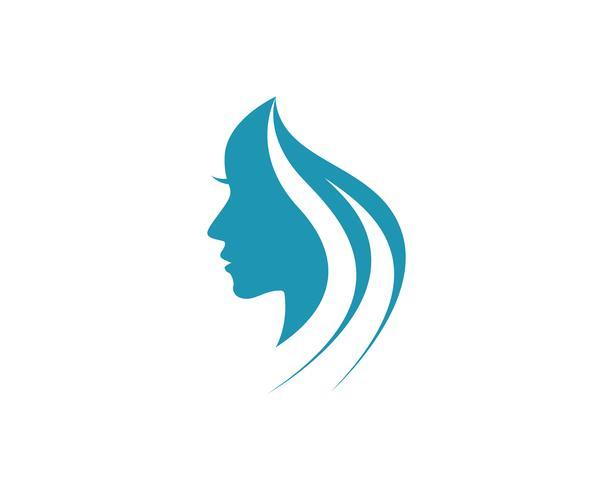 mulher de cabelo e rosto logo e símbolos, vetor