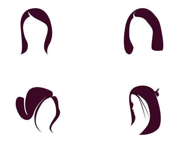 pelo mujer y rostro logo y simbolos ,, vector