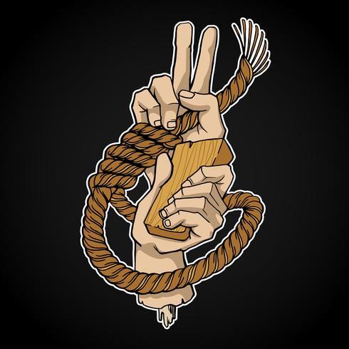 Cuerda y manos vector