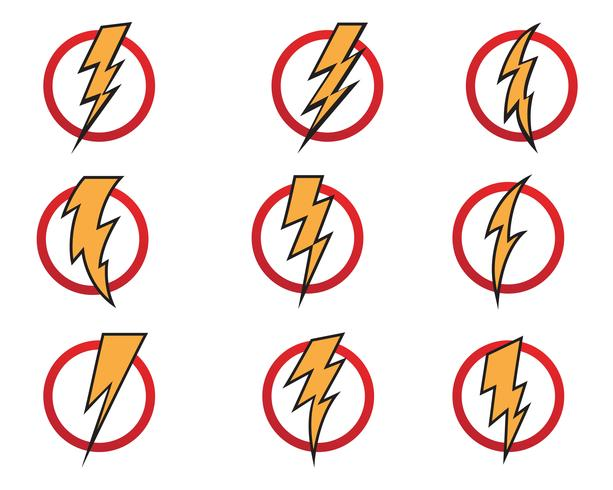 Vector de iconos de rayo flash relámpago