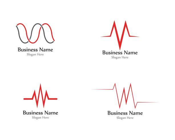 Pulse line wave sound logo vectors