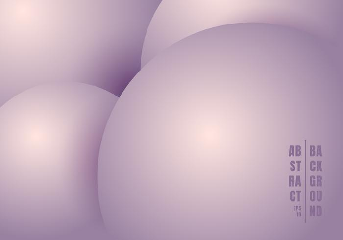 Abstract 3D realistic liquid or fluid circles purple pastels color beautiful background. vector