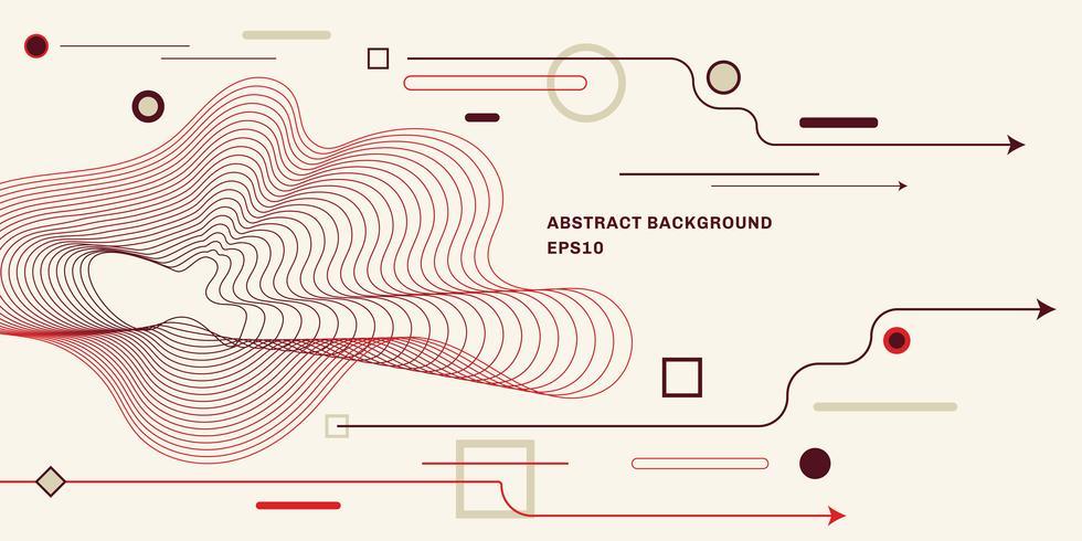 Fondo geométrico abstracto con fondo de estilo minimalista de moda plana. Flecha, círculo, cuadrado, elementos de línea. vector