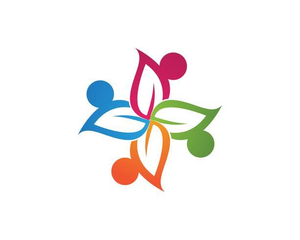Plantilla de logotipo y símbolos de atención a la gente de la comunidad, vector