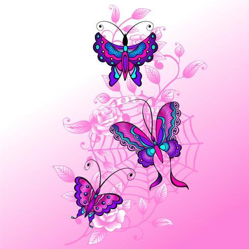 Toile d'araignée, roses et papillon vecteur