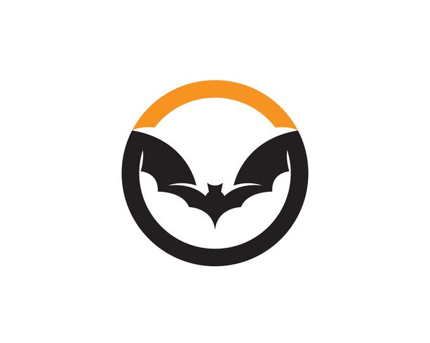Bat black logo template fundo branco ícones app vetor