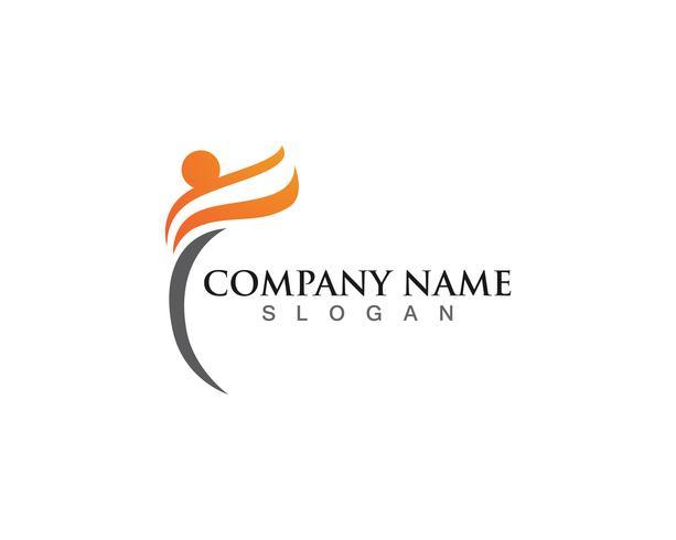Gente divertida icono de vector de plantilla de vida saludable Logo