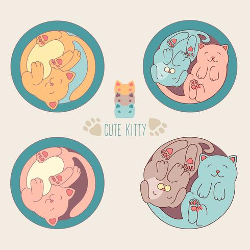 Pequeño gato blanco y perro. Ilustración vectorial de los niños. El conjunto de caracteres animales lindos y los elementos gráficos para los niños diseñan en estilo dibujado mano de la historieta en el fondo blanco. vector