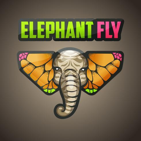 olifant en vlinder logo ontwerp