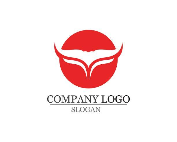 Iconos de plantilla de logotipo y símbolos de cuerno de toro vector