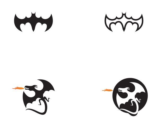 Bat black  logo template white background icons app vector