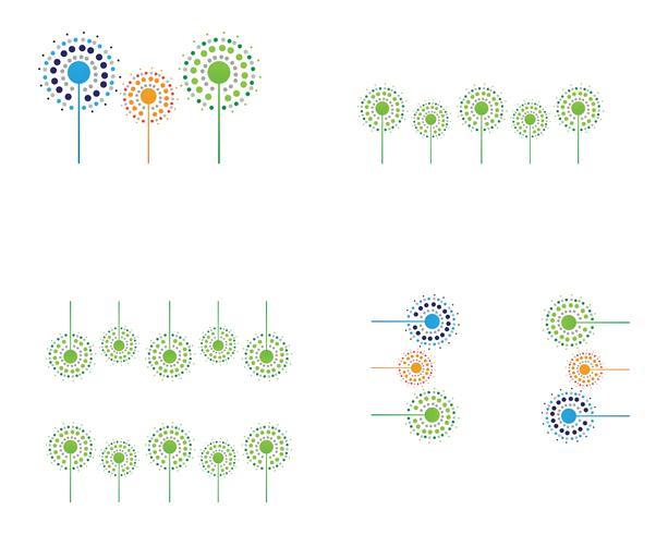 Diseños de ilustración vectorial de diente de león vector