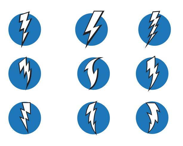 Vector de iconos de rayo flash relámpago