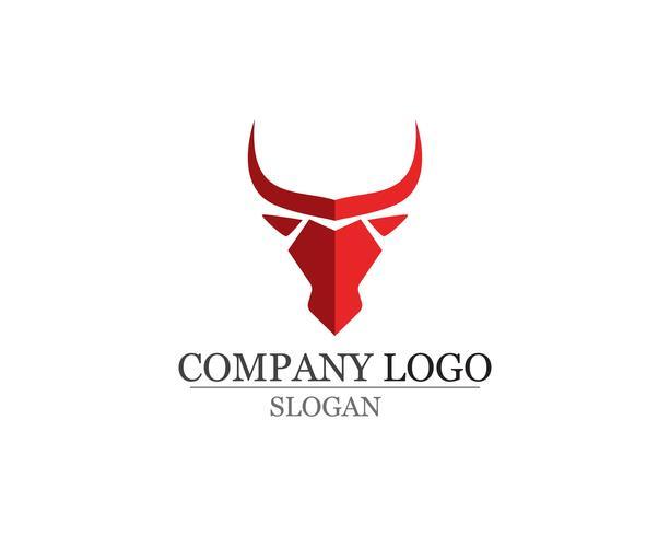 Ícones de modelo de logotipo e símbolos de chifre de touro vetor
