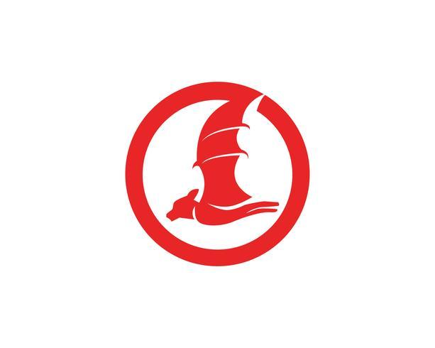 Icône de chauve-souris logo noir modèle fond blanc