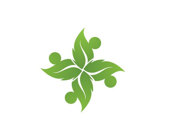 people community leaf green nature health logo and symbols vector