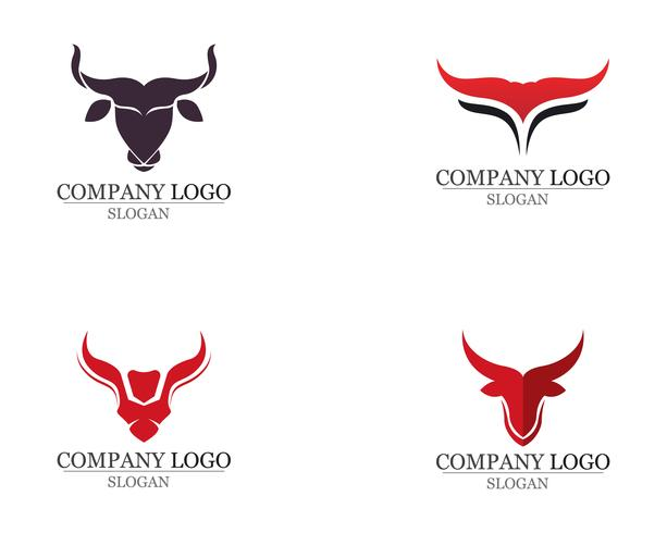 Ícones de modelo de logotipo e símbolos de chifre de touro