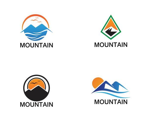 Minimalistische landschapsbelgeing van het berglogoontwerp