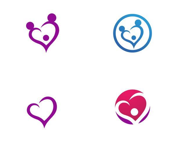 Adopción bebé y comunidad cuidado logotipo plantilla vector icono