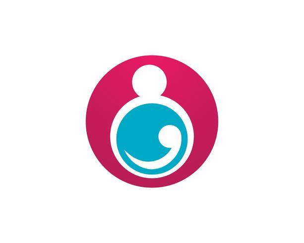 Adozione baby e cura della comunità Icona di vettore del modello di logo