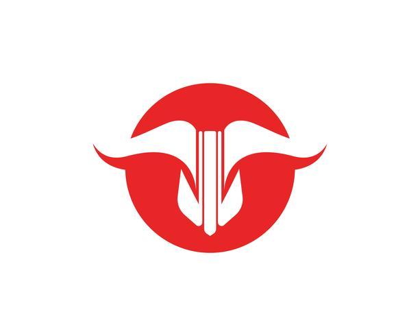 Application d'icônes de modèle logo rouge Bull et symboles