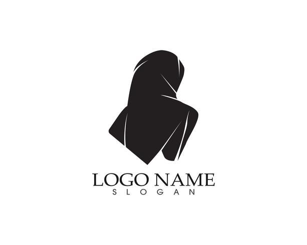Hijab mujer negro silueta vector iconos aplicación