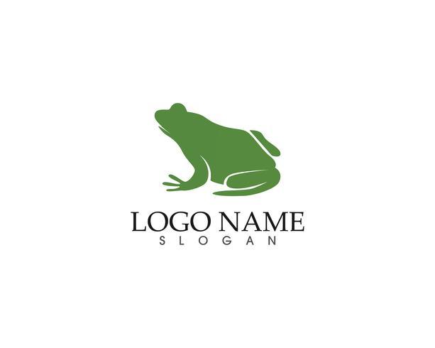 Aplicación de iconos de logotipo y plantilla de símbolos de rana verde vector