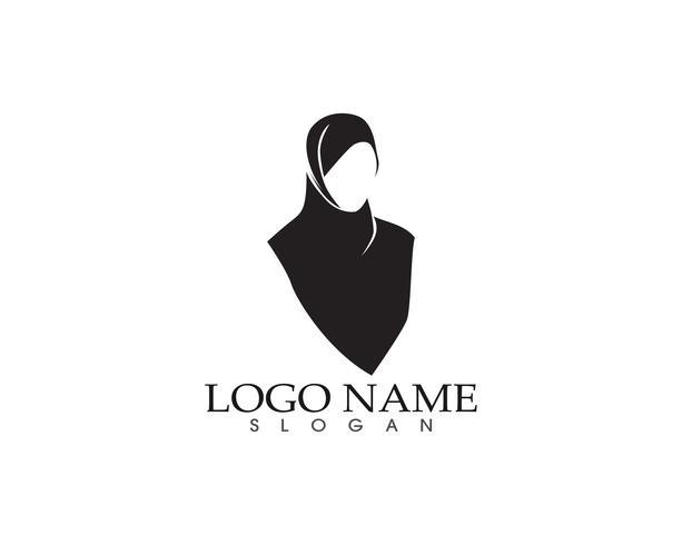 Hijab kvinnor svart silhuett vektor ikoner app