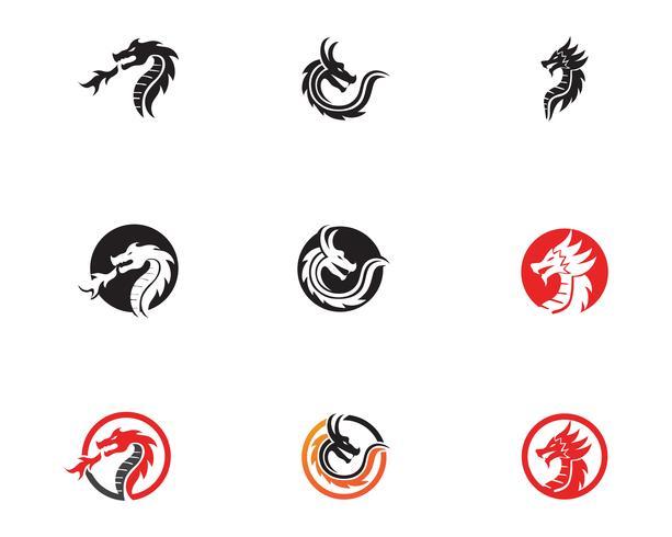 Vetor de ícone de logotipo de dragão