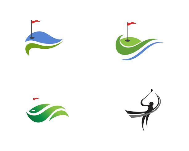 Golfclub pictogrammen symbolen elementen en logo vectorafbeeldingen