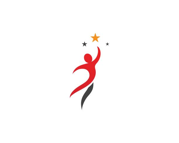 Estrella logo éxito personas plantilla vector icono ilustración