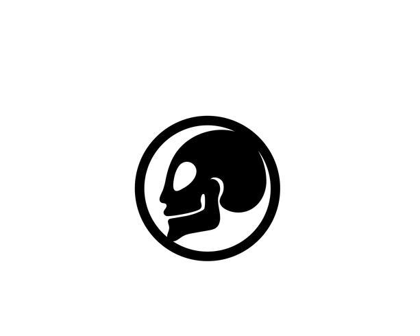Schedel hoofd logo en symbool vectoren