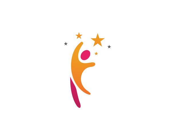 Illustrazione dell'icona di vettore del modello della gente di successo di logo della stella