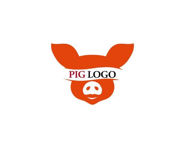 Pig head logo animal