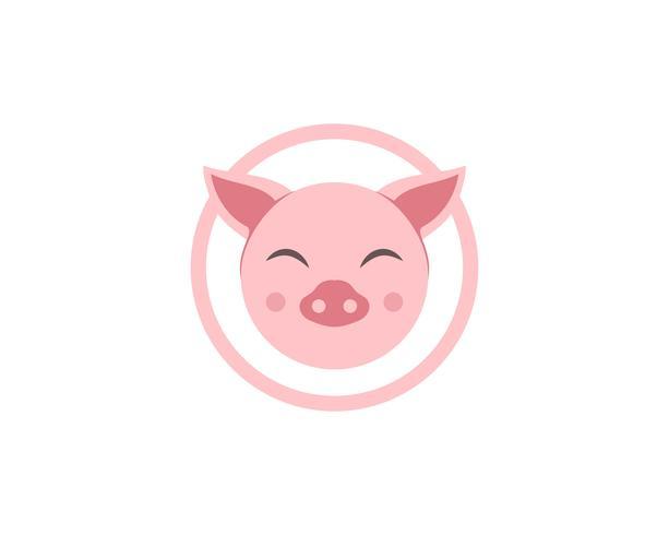 Pig head logo animal vector