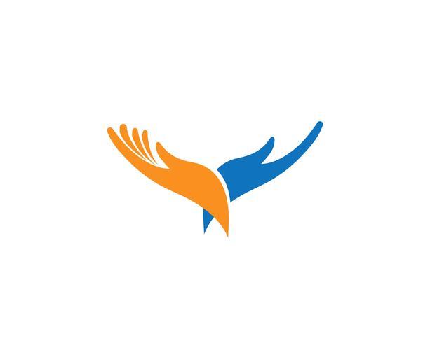 Icono de plantilla de logotipo y símbolos de cuidado de mano vector