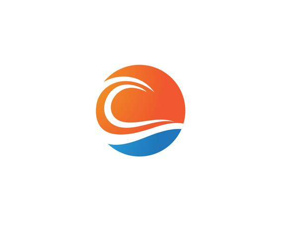 vetor de praia logotipo onda água