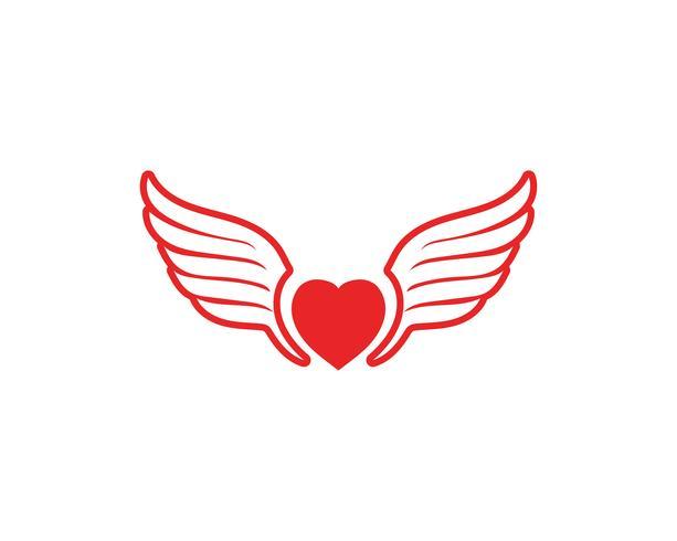 Liebesflügel-Logo und Symbole Vektor-Schablone
