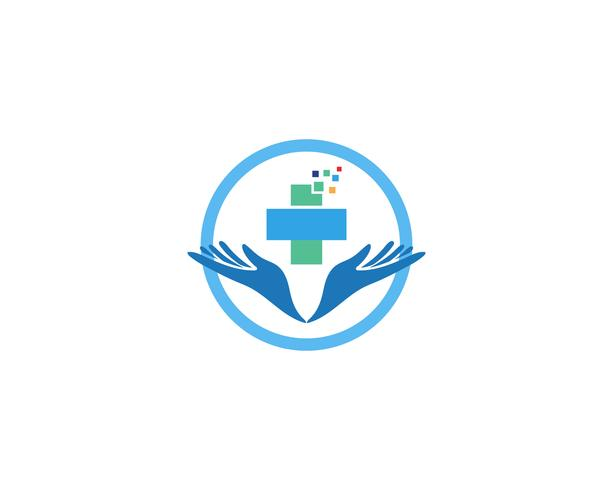 Icone del modello di logo e simboli di cura della mano