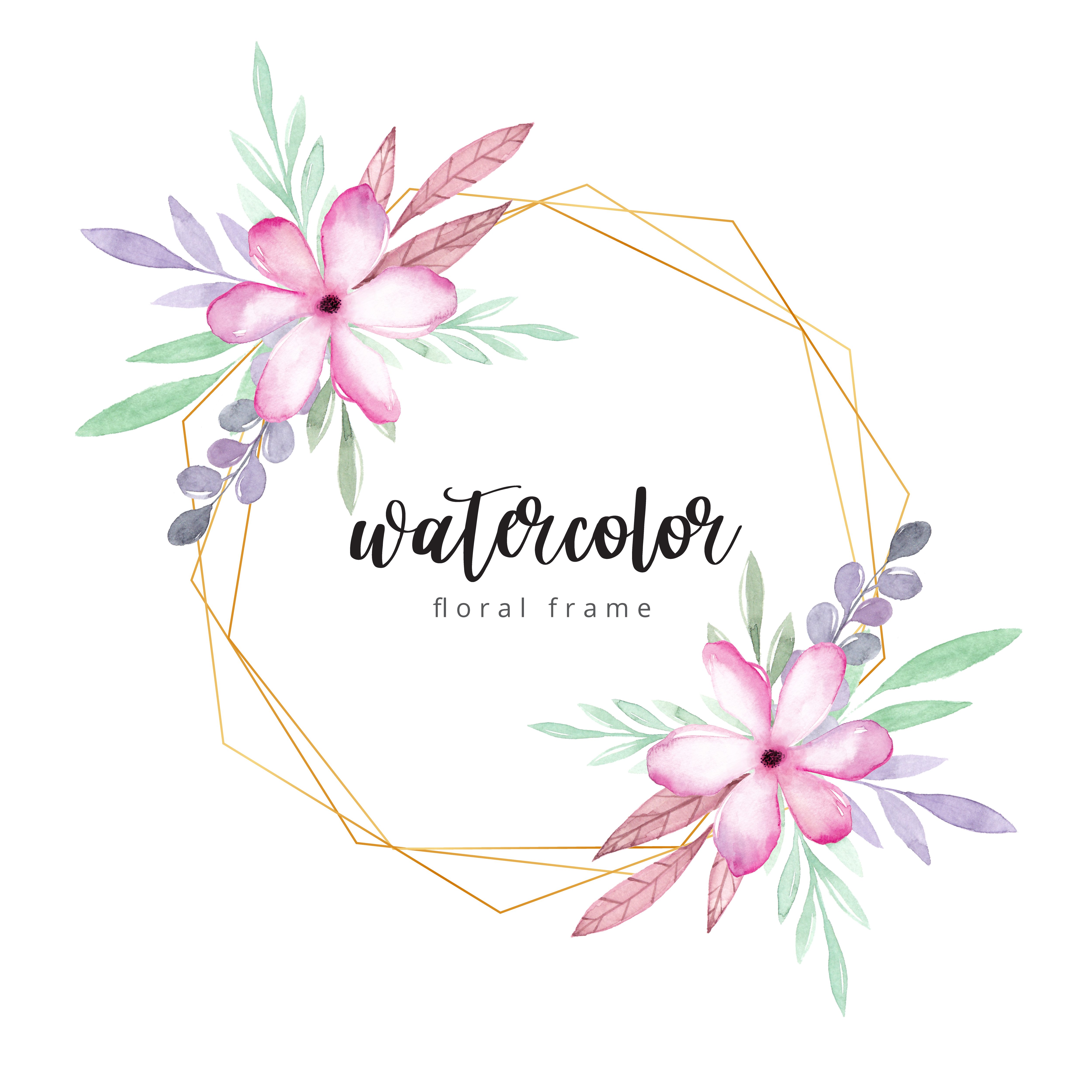 Watercolor Floral Frame With Gold Border Download Free Vectors