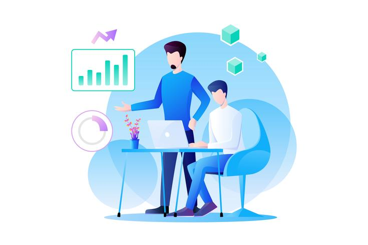 Businessman teamwork is working on analytics of marketing and their product with graph, information and data analysis. flat character design illustration