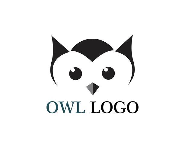 Animale del modello di vettore di logo dell'uccello della testa del gufo