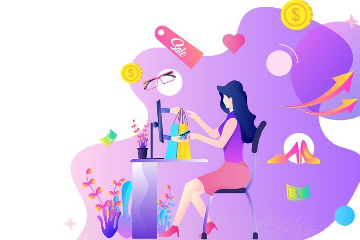concetto di design piatto piattaforma dello shopping online. una donna che compra cose o prodotti tramite carta di credito attraverso il computer e la tecnologia di pagamento online vettore