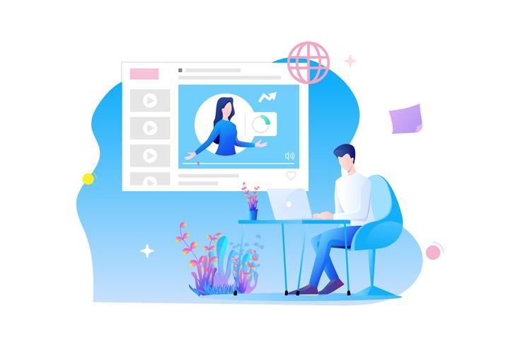 Design plat de formation en ligne. Le personnage d'un homme est assis au bureau et étudie en ligne avec cours en ligne et concept d'examen en ligne