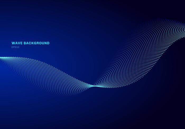 Abstraktes Netzdesign mit hellblauer Welle des Partikels. Die Schallwelle der dynamischen Partikel, die auf das Glühen fließt, punktiert dunklen Hintergrund.